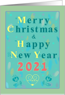 Merry Christmas and Happy New Year 2021. Watercolor festive card