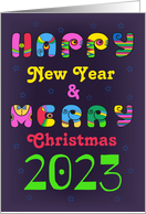Merry Christmas and Happy New Year 2021. Disco letters card