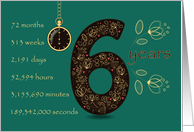 6th Golden Birthday Card. Floral Number 6. Time counting card