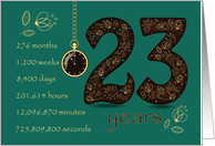 23rd Golden Birthday Card. Floral Number 23. Time counting card
