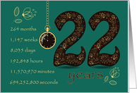 22nd Golden Birthday Card. Floral Number 22. Time counting card