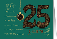 25th Golden Birthday Card. Floral Number 25. Time counting card