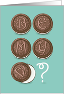 Be My Valentine? Chocolate cookies with graceful decor as letters card
