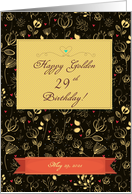 Golden Birthday. Golden flowers and red hearts. Custom text front card