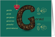 Any occasion for Custom Name. Letter G and Golden Color Flowers card