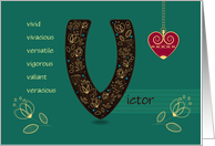 Any Occassion for Custom Name. Letter V and Golden Color Flowers card
