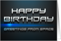 Black Mesh Laser Light Effect Outer Space Birthday card