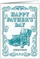 Custom Vintage Illustrated Man Reading Newspaper Father's Day card