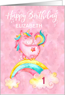 Custom Name and Age Unicorn on Rainbow Watercolor Effect Birthday card
