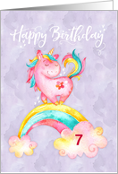 Custom Age Unicorn on Rainbow Watercolor Effect Birthday card