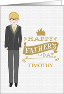 Custom Name Illustrated Man with Spectacles Formal Attire Father's Day card