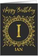 Illustrated Custom Happy Birthday Gold Foil Effect Monogram I card