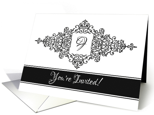 Flourish Frame Black and White Invitation with Monogram Letter F card