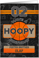 Custom Name Basketball 2nd Birthday For Foster Brother card