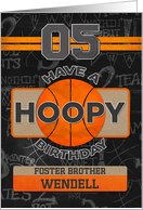 Custom Name Basketball 5th Birthday For Foster Brother card