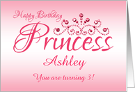 Custom Great Great Granddaughter 3rd Birthday Pink Tiara Princess card