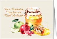 Custom For Neighbor on Rosh Hashanah Apple Pomegranate Honey card