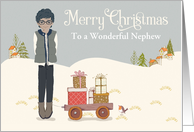 Custom For Nephew African American Boy on Snow with Gifts on Cart card