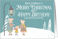 Custom Merry Christmas and Happy Birthday Singing Mice Snowy Scene card
