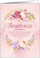 I Forgive You Bible Verse 1 John 1:9 Watercolor Flowers with Beads card