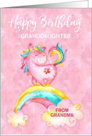 Custom Unicorn on Rainbow Watercolor Effect Birthday for Granddaughter card