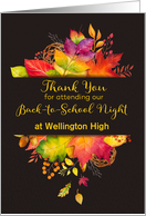 Custom Thank You for Attending Back to School Night, Fall Leaves card