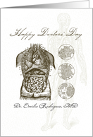 Custom Name Illustrated Doctors' Day, Human Body Anatomy card