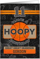 Custom Name Basketball 11th Birthday For Great Great Grandson card