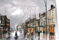 Oil painting of Wet Weather in Town card