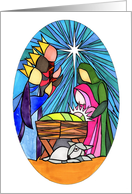 Stained Glass Style Christmas Nativity card