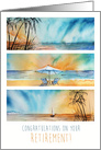 Congrats on Your Retirement Beach Ocean Seaside Sunset Watercolor card