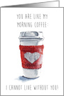 Cute Funny Valentine's Day Red White Simple Watercolor Heart Coffee card