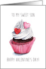 Valentine's Day Sweet Cupcake for Son - Watercolor Illustration card