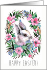 Happy Easter Cute Watercolor Bunny and Flower Vignette card