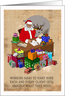 Christmas - Santa with a Deer and a Pile of Gifts card