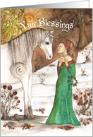 Yule Blessings Unicorn and Lady in the Snow card