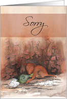 Sorry, brown puppy dog with toy card