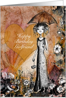 Happy Birthday Girlfriend, Lady with Umbrella, Heart and Flowers card