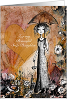 Congratulations, Step Daughter's Wedding, Lady with Umbrella, card