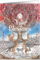 Yule Blessings, Christmas, Hares with Mandala Tree card