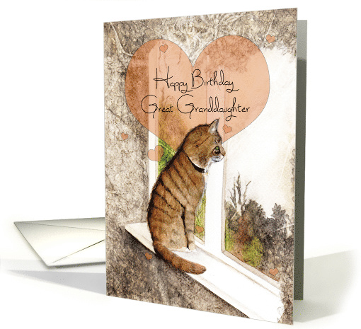 Happy Birthday, Great Granddaughter, Tabby Cat and Hearts, Art card