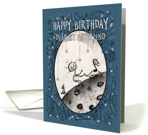 Happy Birthday, Boyfriend, Robot with Duck and Bird on the Moon, card