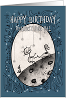 Happy Birthday, Pen Pal, Robot with Duck and Bird on the Moon, card