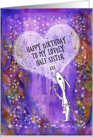Happy Birthday, Half Sister, Rabbit with Hammer and Heart, Art card