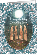 Happy Birthday, Half Sister, Hares with Moon, Art card