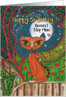 Happy Birthday, Step Mom, Cat, Blue Tit Bird and Moon card