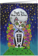 Thank You, Pet sitter, Candy Skull Cat card