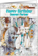 Happy Birthday, Dearest Partner, Poodle Dogs, Abstract card