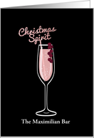 Sparkling WIne, Christmas Cocktail, Pink, Business, For Friend card