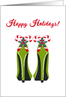 Christmas, Green High Heels, Candy Cane, Holly card